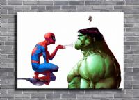 THE HULK - THE ANNOYING SPIDER MAN canvas print - self adhesive poster - photo print